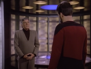 Riker's dad shows up. They don't seem to get along real well