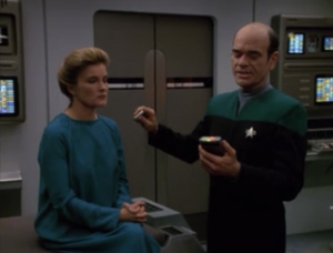 In the next shot, Janeway and Paris are completely back to being a normal human. Good job, Doctor