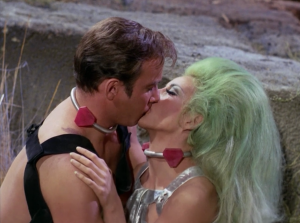 Kirk teaches Shahna about how great humans are.