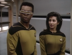 Sonja is still hanging out with Geordi. Could he have made a human friend?