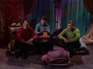 Scotty, Bones and Kirk go to some planet to check out the ladies. Real juvenile, guys