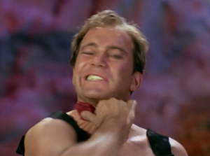Everyone takes off their pain-necklaces pretty easy except for Kirk. He makes it look really hard