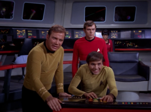Chekov gets really into it when he fire phasers.