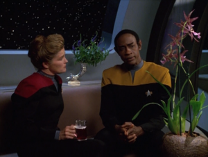Janeway goes to Tuvok for guidance. He reminds her about Star Trek 6 and shows her his flower