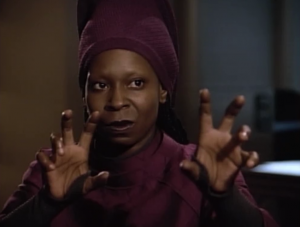 We learn that Guinan and Q don't like each other and haven't seen each other for a couple hundred years