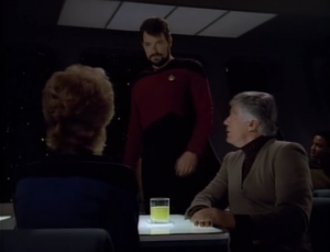 """Riker confronts Pulaski about them having a history and Pulaski says """"it wasn't exactly a secret, it just never really came up."""" Well, there was that one time Riker was making eggs with Pulaski and he started talking about his father"""