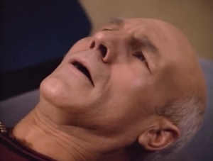 The future Picard is all messed up. He can't tell them what's going on