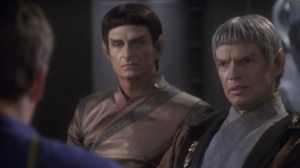 Shran asks to speak with Soval directly. Archer convinces Soval to go see him
