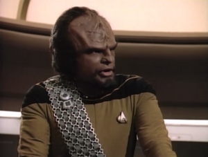 Worf disagrees with everyone and he actually ends up being right