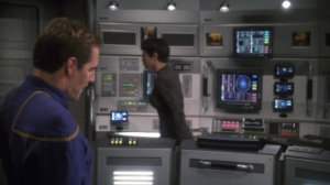 I like how Archer gives T'Pol a look, and she walks over to Reed's station