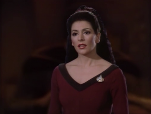 And Troi tells the crew something they don't already know!