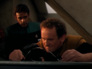 They run and hide out. O'Brien works on fixing a communicator thing