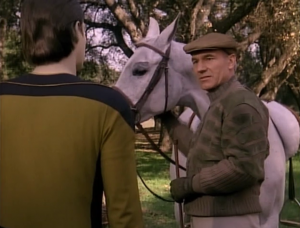 Data asks Picard if they can attempt to save his friends planet from destruction. That's against the prime directive!