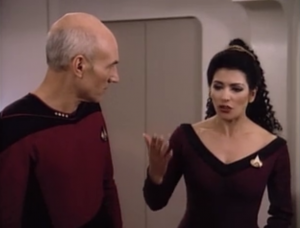 Picard doesn't like the future Picard and yells at him. Troi tells him to lighten up