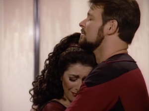Riker says goodbye to Troi. Come on, Deanna, do you really think he's leaving the show?