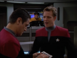 Paris is late again to his shift and Chakotay tells him to go home.
