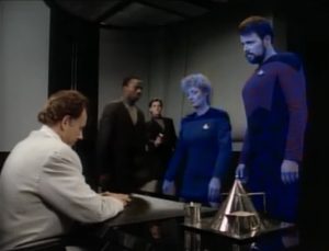 "The clones ask if they can have some DNA to make more clones. Riker says ""no, that's weird"", so the clones just shoot them and steal some cells from them"