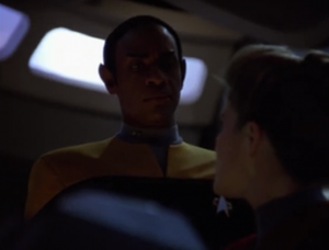 Everyone leaves the ship except Tuvok