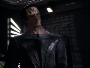 Dukat visits Sisko. He knows that people within the federation are responsible for attacking Cardassians, but he wants to give Sisko a chance to deal with it rather than having the Cardassian government deal within, causing more tension