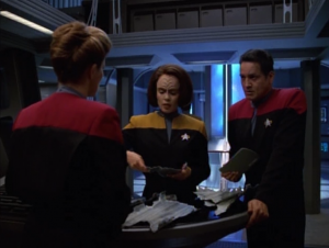 Voyager finds a bunch of junk in space. It was something destroyed by Cardassian weapons. Not only is it something from the Alpha quadrant, again, but it's something B'Elanna and Chakotay have seen before