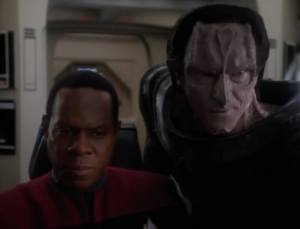 They come across a fight between Cardassians and federation colonists
