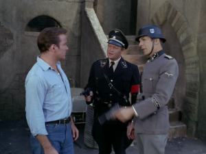 Spock steals a uniform, and then what do you know, someone comes by that's just about Kirk's size