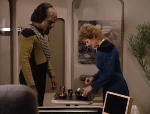 Worf thanks her by having a tea ceremony