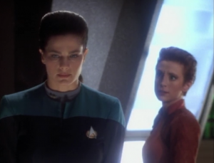 Jadzia is wrestling with whether or not to go the quest, to uphold the blood oath Curzon took, and to kill someone