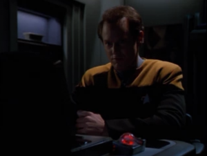 Jonas is telling the Kazon all about the gossip with Paris and Chakotay