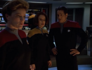 The dreadnought suspects that B'Elanna is trying to trick it because the odds that it's in the Delta quadrant is too far fetched. I think the dreadnought is making fun of the writers