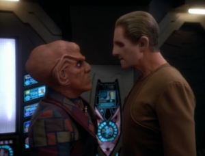 Quark tries to convince Odo to help get the hiding Cardassians off the station before they're sent to be executed. Odo checks to see what they're guilty of, and decides it doesn't warrant death, so he'll help in the name of justice