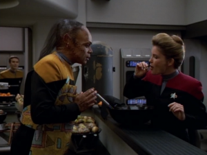 We get a little montage of Tuvix getting along really well with the crew and we're told again that Tuvix is better than Neelix and Tuvok