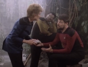 """Riker gets cut by a thorn. e doesn't understand because he says he was """"minding his own business"""""""