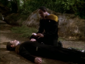 Tuvok crashes on a planet and a guy dies