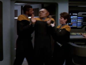 In the end Tuvix is disturbingly taken against his will to be turned back into Tuvok and Neelix. It's a really hard thing to watch, but it's even harder for me to take this situation seriously. It seems like such an afterthought to a goofy episode, with a lame premise.