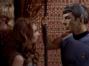 Spock does a thing where he telepathically implants a suggestion