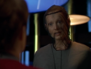 Janeway meets with members of the same species. I think there's a mosquito problem on their planet