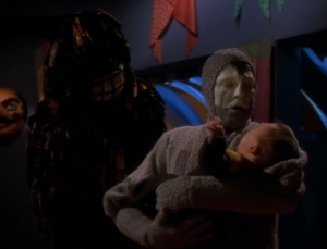 Then they make him a baby. I don't think this baby is acting. I think it's really freaked out
