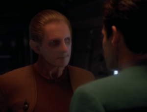 In this episode Odo shows off how much he cares about justice. He's willing to do illegal things, and he isn't bothered by Garak's state because he might be a suspect in crimes