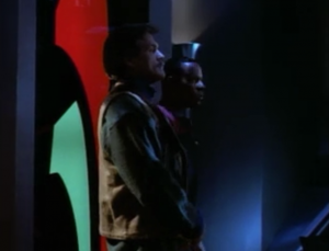 At the end of the episode the mustached man and Sisko walk in which tells the judge that the federation knows what's up and the judge lets O'Brien go.