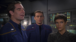 "They come across a dark matter nebula and Archer says no one's ever seen one. Hey, but in the first season episode ""Breaking The Ice"" Archer tells a Vulcan that he's been in one! Isn't everyone really bothered by this?!??"