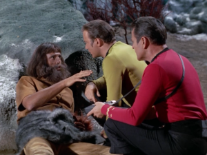 They question an inhabitant. It doesn't take too long before Kirk asks about the women on the planet, but this guy's never heard of women