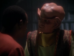 Quark tells Sisko that he thinks the ferengi remind humans of how they used to be, but he says the ferengi were never as bad as humans. The ferengi never had slavery or holocausts or big wars