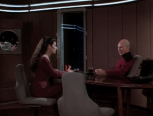 I like the scene of Troi and Picard talking about communication with aliens in general, and preparing to talk with the Sheliak