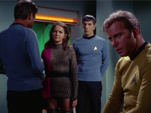 Kirk runs into his cell door and Bones has to come look at him. Bones also agrees that Kirk is out of it
