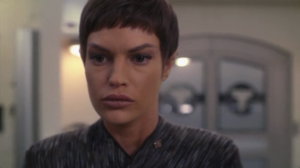 T'Pol has to choose to obey the high command and be reassigned, or resign and stay with Enterprise for their mission. Technically speaking, this is a cool move on T'Pol part, but it feels like it's her only real option since she's a main character in this TV show