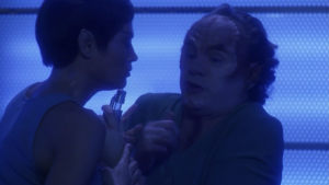 Because of the infection, T'Pol is going through Pon Farr early