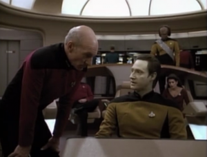 Data tries to figure out how to make contact with the nanites. He eventually finds a way to communicate with them on a terminal, but he thinks it would make for a better climax to the episode if the nanites went inside of him to talk