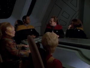 Janeway and Chakotay got a disease and can only survive while on a certain planet. Tuvok is put in command!