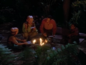 Nog, Quark and the Siskos go on a camping trip/science project. They set up the trajectory of the episode to be about Quark trying to convince Sisko of something and Jake bonding with his dad. Seems like it's going to be a lame episode. Perhaps unintentionally this episode has a surprise twist of actually getting really good
